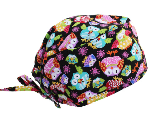 Fun Owl Surgical Scrub Cap with adjustable tie