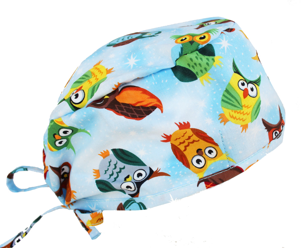 Crazy Owl on Blue Surgical Scrub Cap