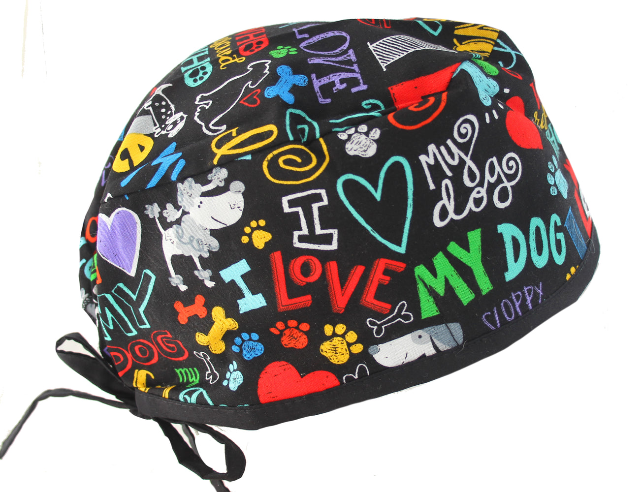 Colorful I Love My Dog 2 Surgical Scrub Cap Hat