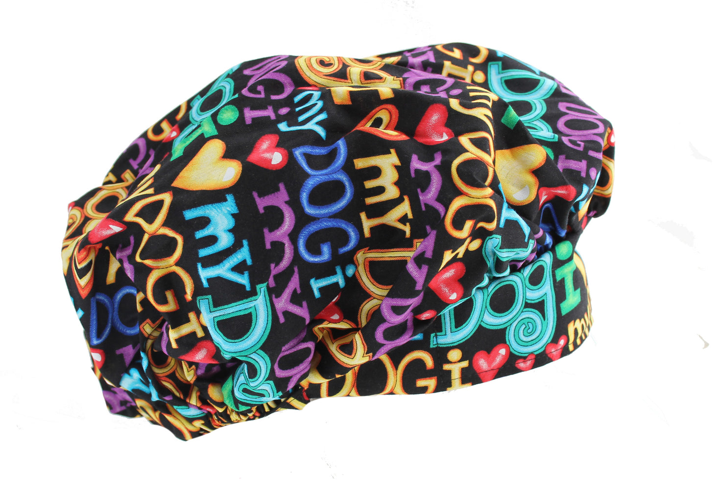 Bouffant Colorful I Love My Dog Surgical Scrub Cap Hat