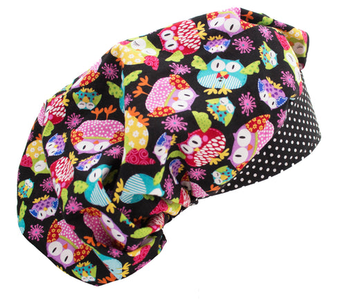Fun Night Owl & Polka Dots Bouffant Surgical Scrub Cap Hat