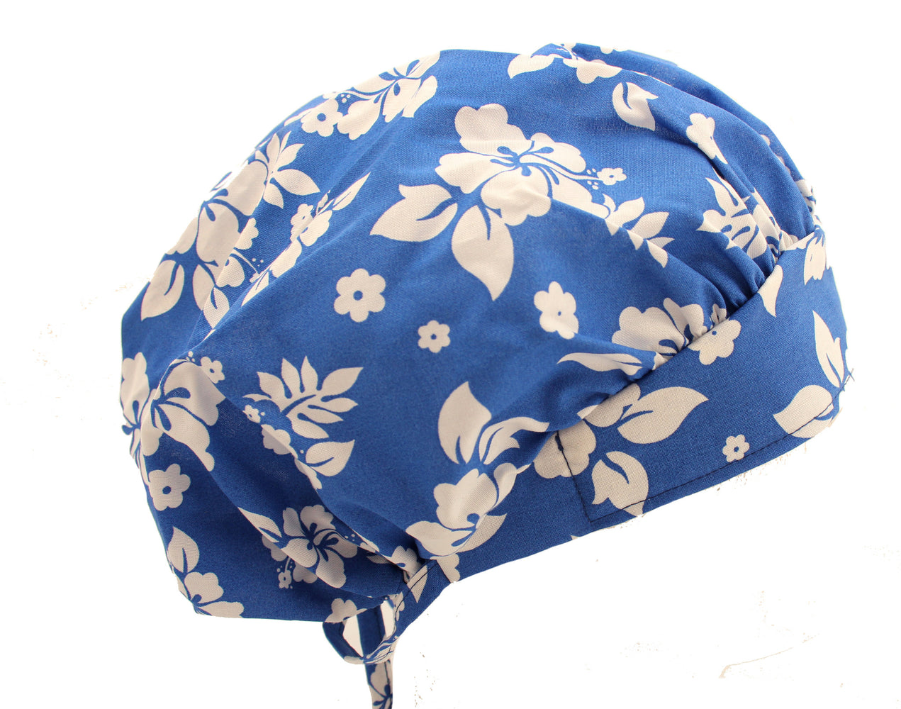 Tropical Flowers Blue & White Bouffant Surgical Scrub Cap Hat