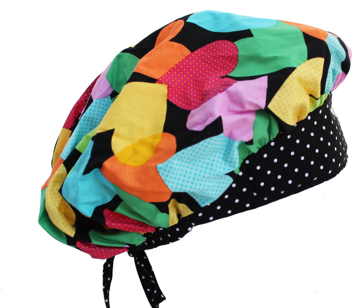 Sweet Colorful Hearts Bouffant Surgical Scrub Cap Hat