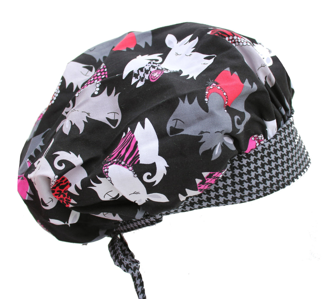 Scottie Scottish Terrier Dogs & Houndstooth Bouffant Surgical Scrub Cap Hat