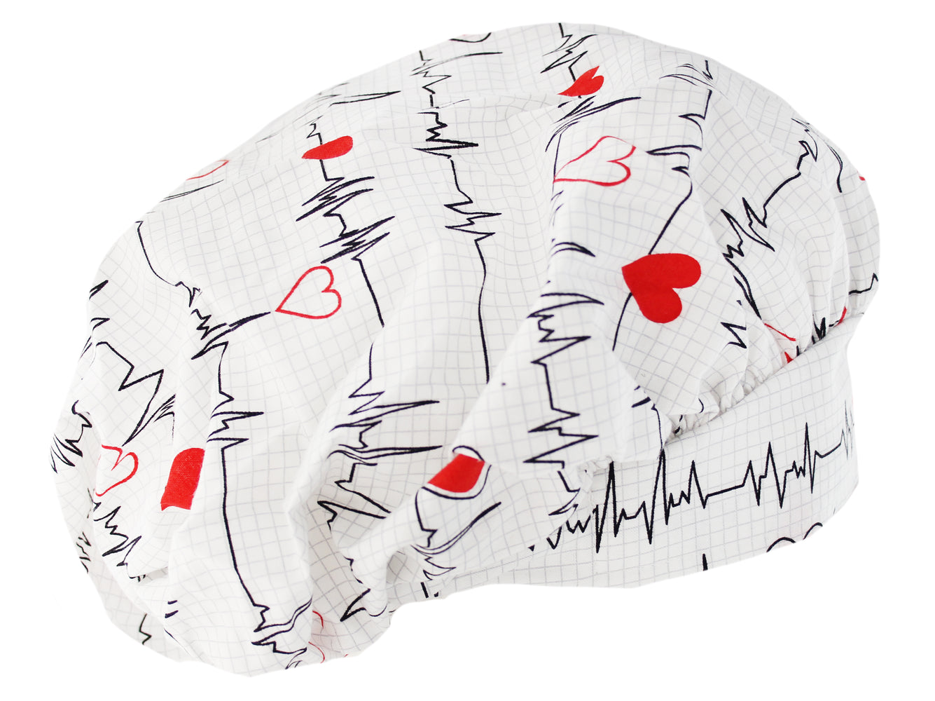 Bouffant White Heart Beat EKG Scrub Cap With Adjustable Tie