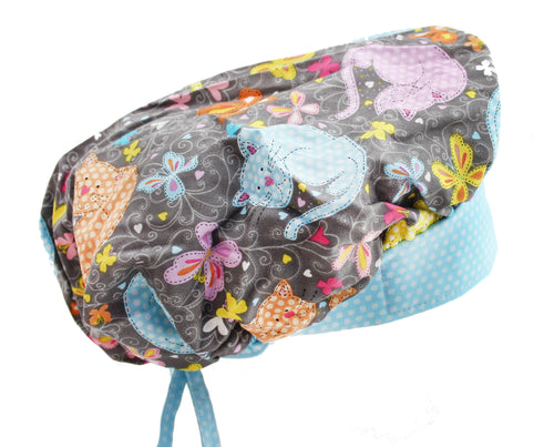 Bouffant Happy Cat Surgical Scrub Cap Hat