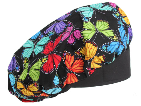 Banded Bouffant Color Butterfly Surgical Scrub Cap
