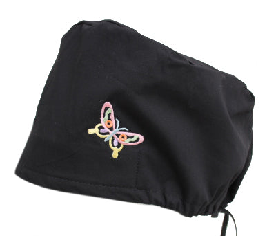 Solid Black Butterfly Bouffant Scrub Cap Hat with cord lock tie