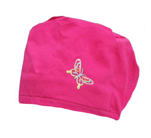 Butterfly Hot Pink Bouffant Surgical Scrub Cap Hat