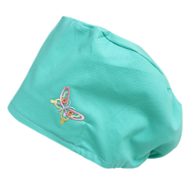 Sea Foam Green Butterfly Bouffant Scrub Cap Hat with cord lock tie