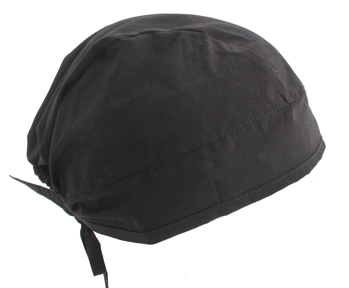 Solid Black Surgical Scrub Cap Hat