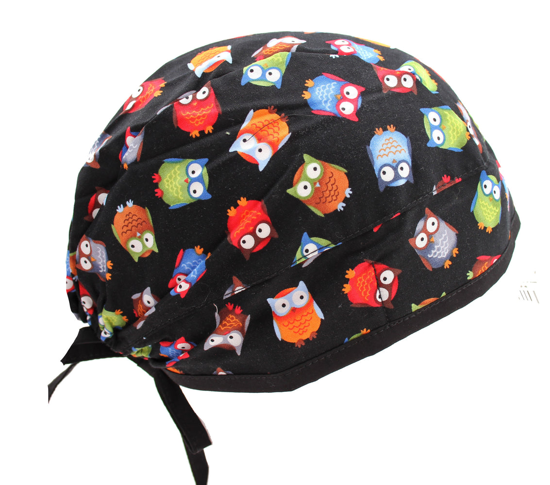 Fun Black Owl Surgical Scrub Cap Hat