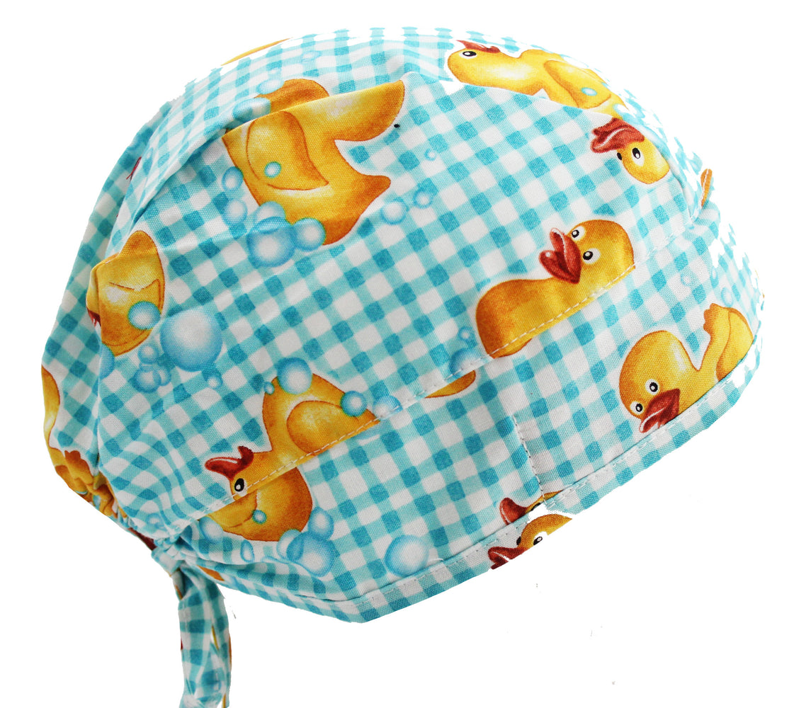Yellow & Blue Rubber Ducky Surgical Scrub Cap Hat