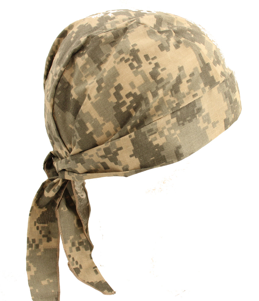 Adjustable Skull Cap Hat Army ACU Digital Camo Tan Green Bandana Skull Cap