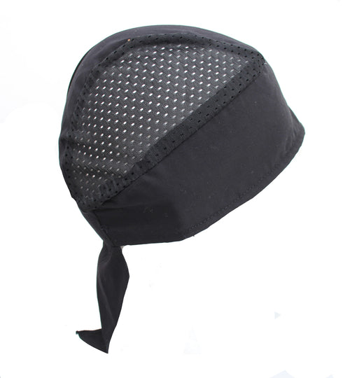 Black Cool Mesh Air Flow Skull Cap Hat with Velcro Strap