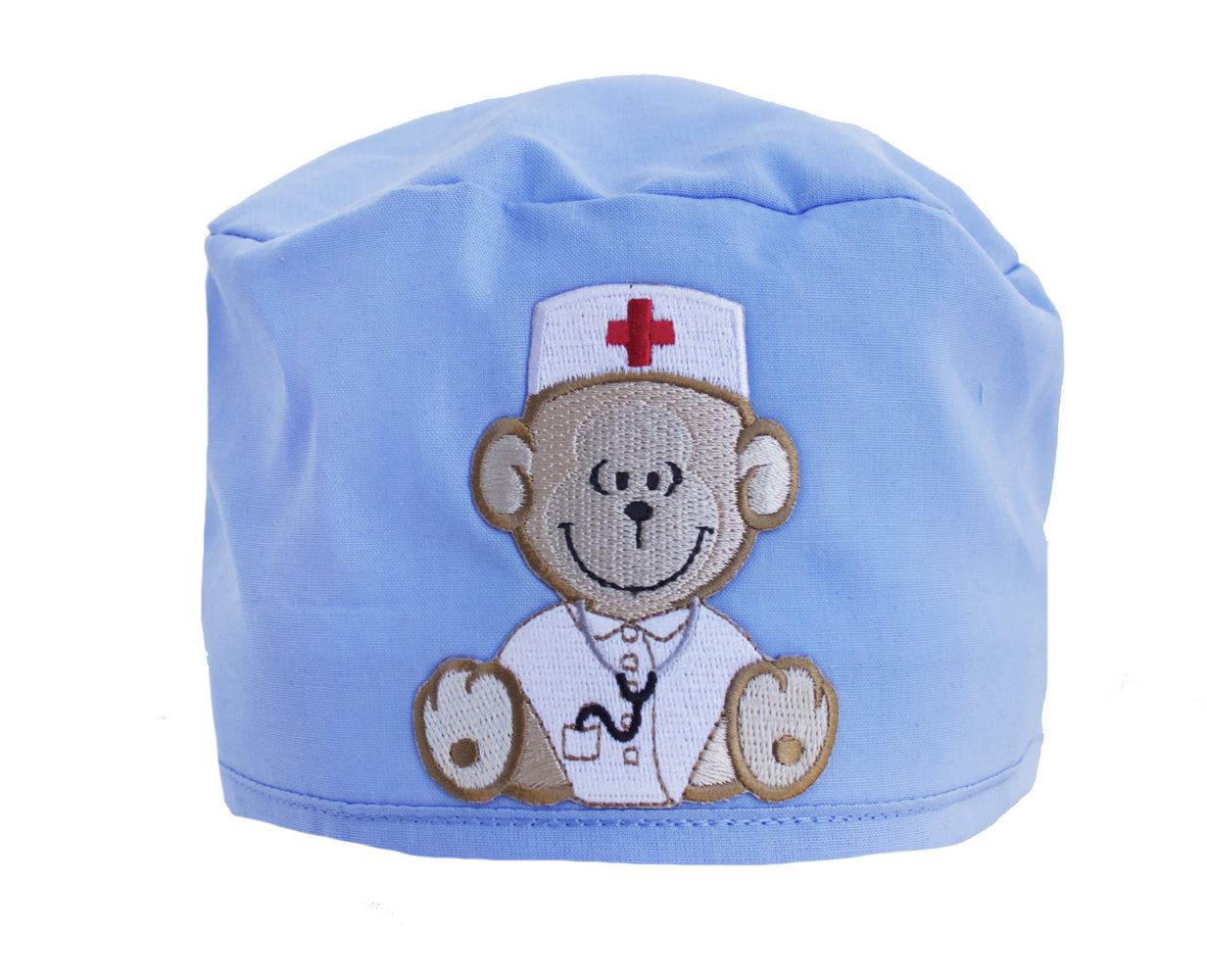 Light Blue Teddy Bear Monkey Surgical Scrub Cap Hat