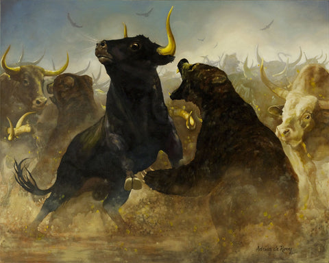 Bear Bull Rumble - Giclee
