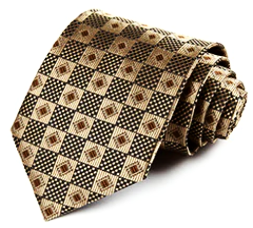 Gold Diamonds In Squares XL Tie with Pocket Square - SOPHGENT