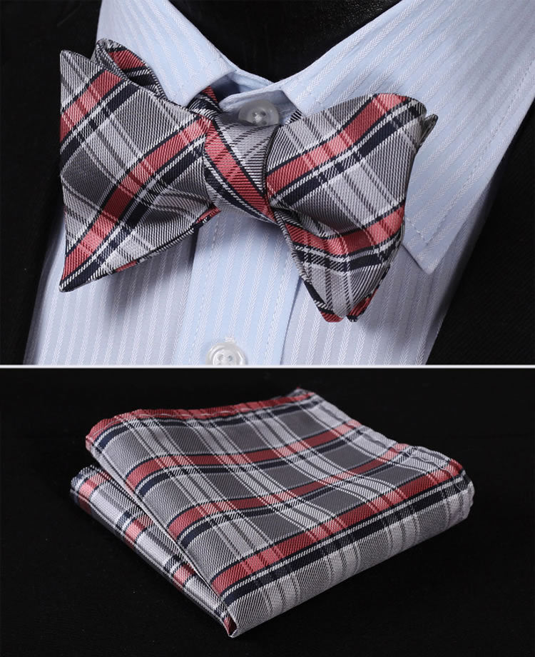 Gray and Pink Plaid Bow Tie and Pocket Square - SOPHGENT
