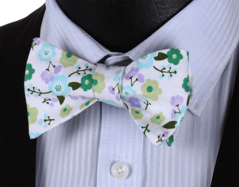 Cartoon Flowers Bow Tie and Pocket Square - SOPHGENT