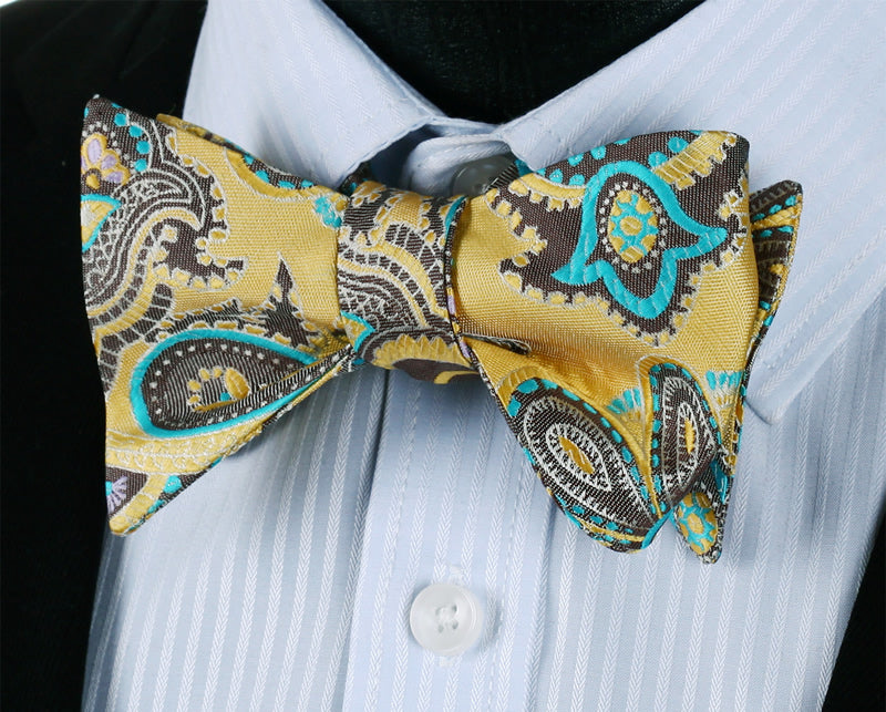 Desert Blue Flower Bow Tie and Pocket Square - SOPHGENT
