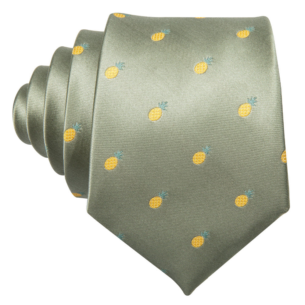 Happy Pineapples Tie, Pocket Square and Cufflinks