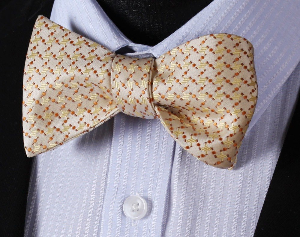 Crosses In Gold Bow Tie and Pocket Square - SOPHGENT