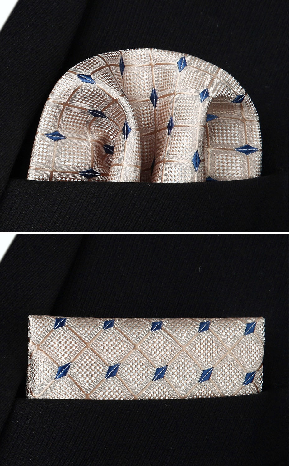 Blue Diamond Bow Tie and Pocket Square - SOPHGENT