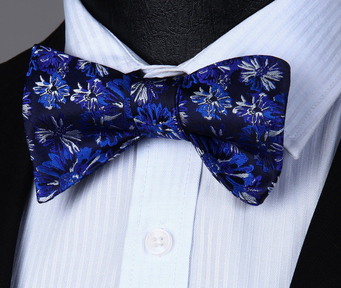 Blue Floral Bow Tie and Pocket Square - SOPHGENT