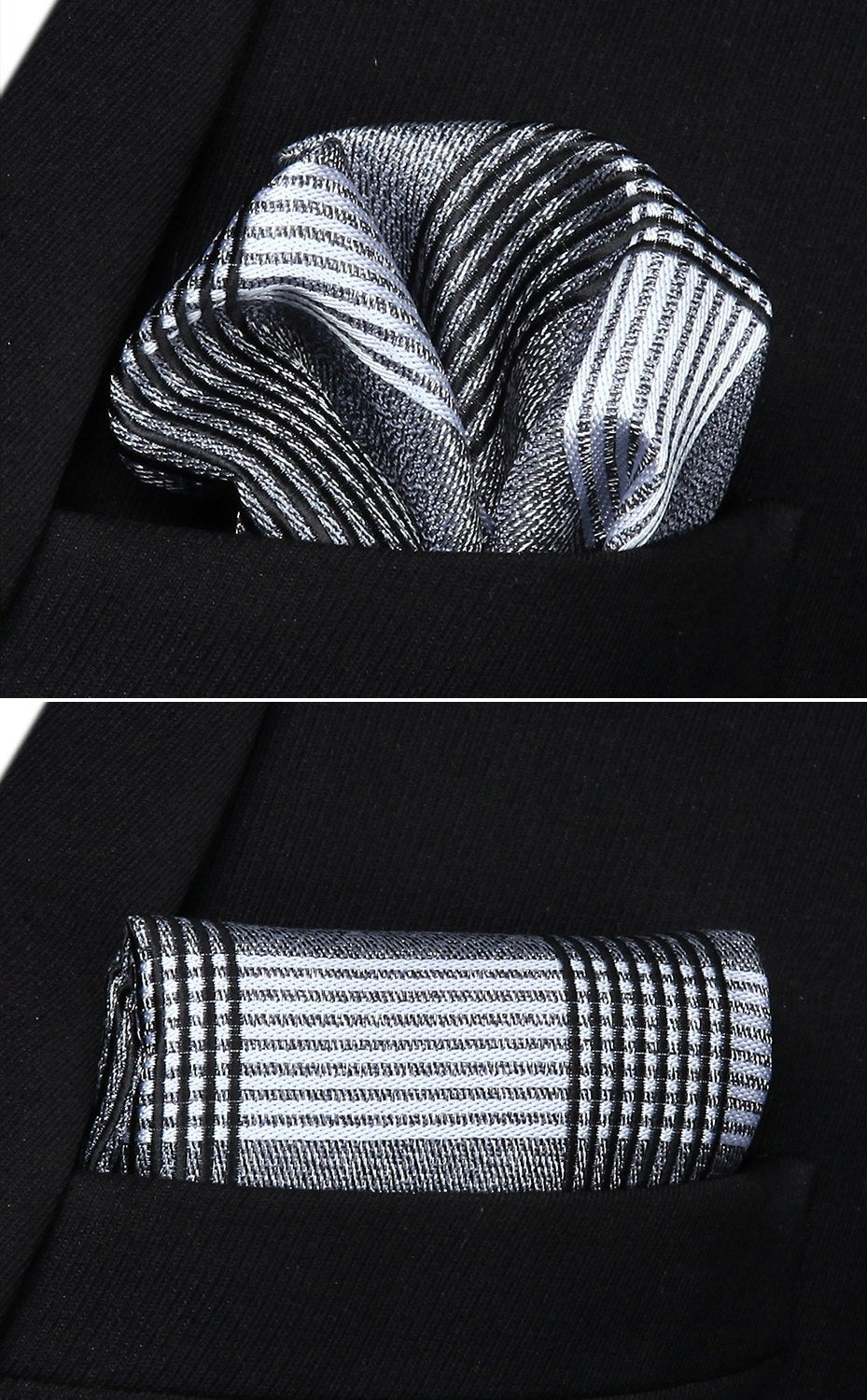 Black and White Tartan Bow Tie and Pocket Square - SOPHGENT