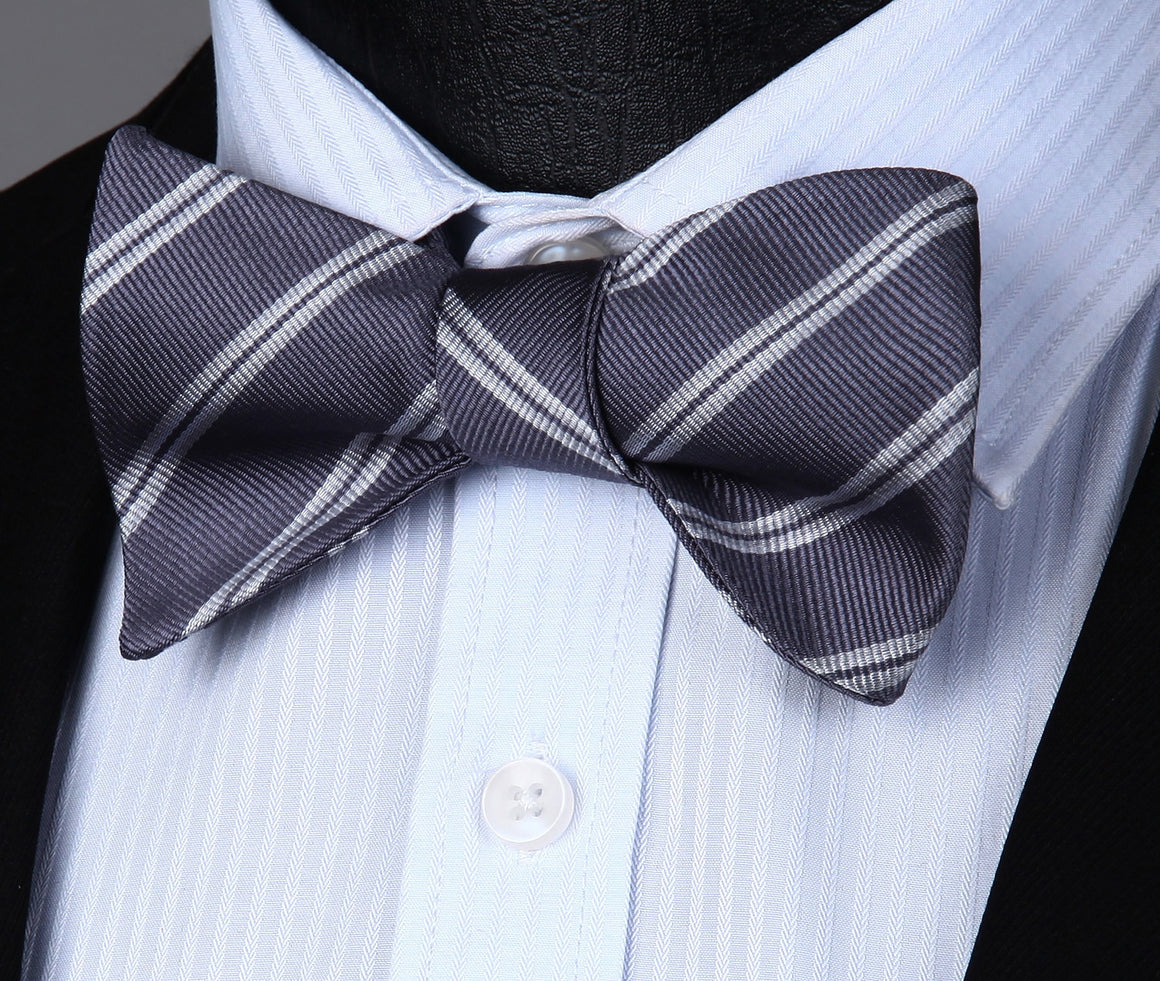 Graphite Striped Bow Tie and Pocket Square - SOPHGENT