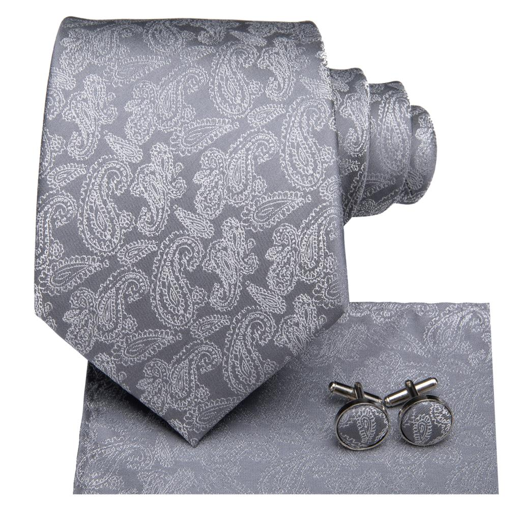 Bright Gray Tie, Pocket Square and Cufflinks