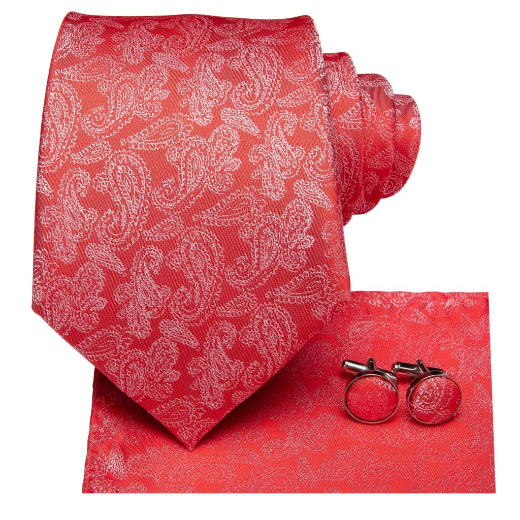 Bright Red Tie, Pocket Square and Cufflinks