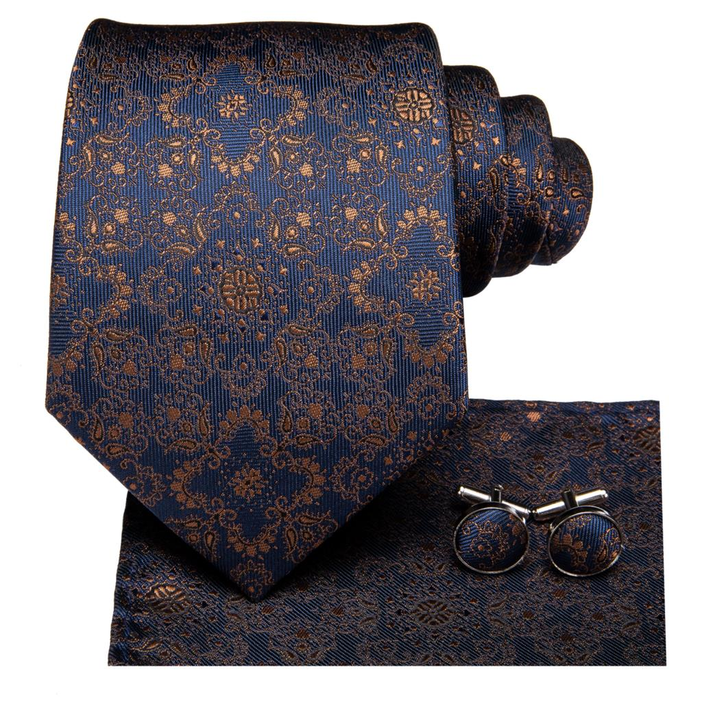 Gold and Blue Ornamental Tie, Pocket Square and Cufflinks