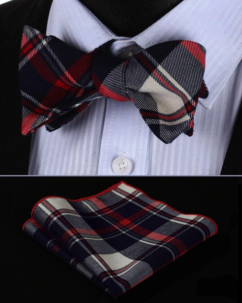 Stewart Black Tartan Bow Tie and Pocket Square - SOPHGENT