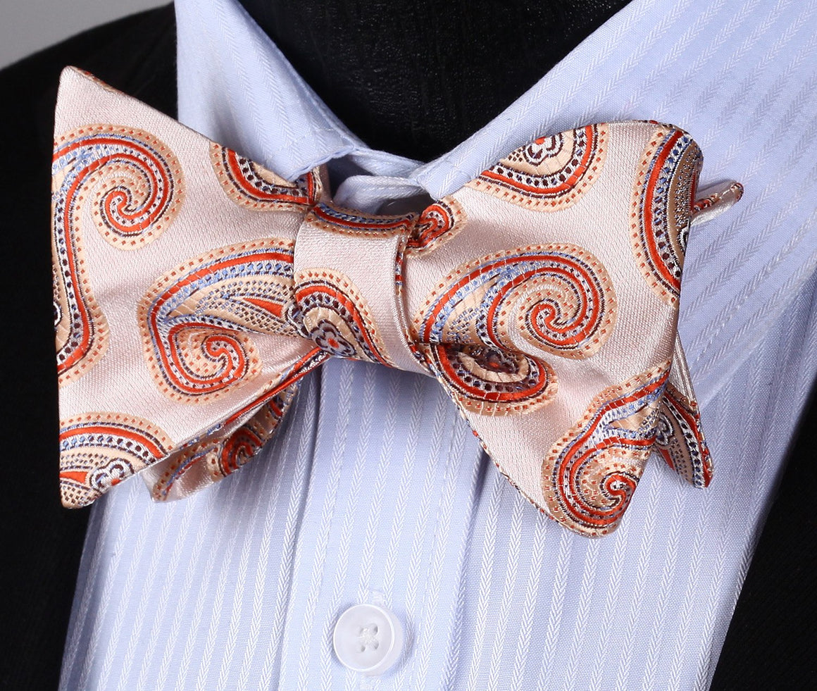 Peach Paisley Bow Tie and Pocket Square - SOPHGENT
