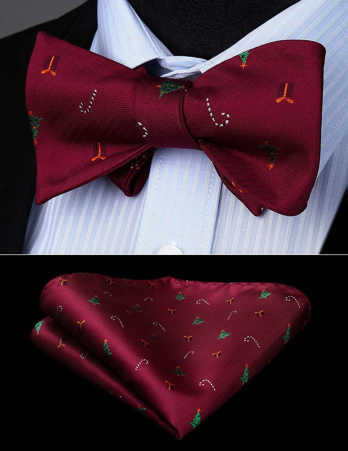 Christmas Pattern Bow Tie and Cufflinks - SOPHGENT