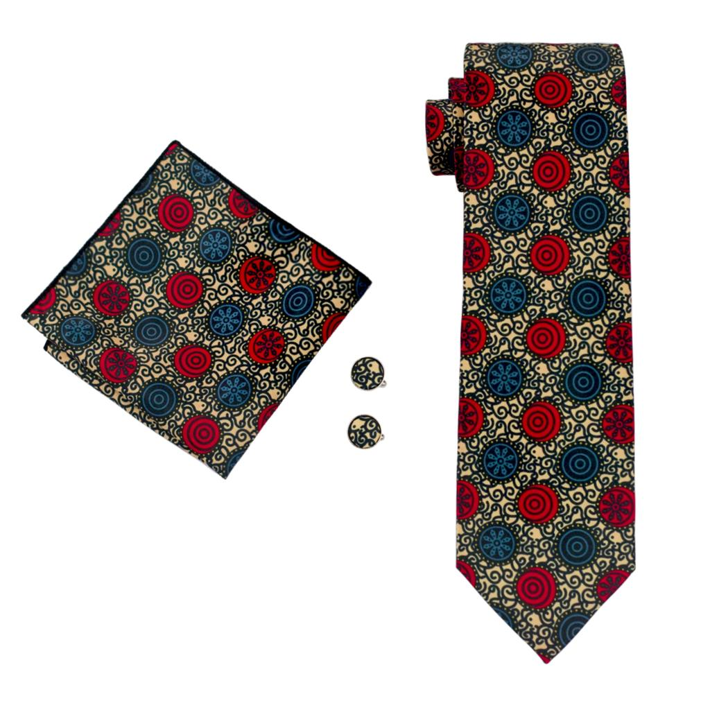Crazy Circles Tie, Pocket Square and Cufflinks - SOPHGENT