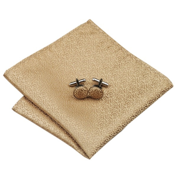 Tie, Pocket Square and Cufflinks In Gold - SOPHGENT