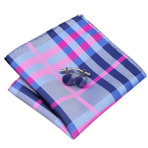 Tie, Pocket Square and Cufflinks In Lilac and Blue - SOPHGENT