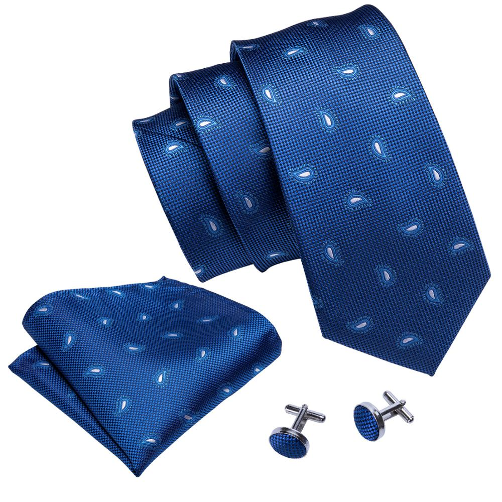 Tiny Paisley Tie, Pocket Square and Cufflinks in Blue - SOPHGENT