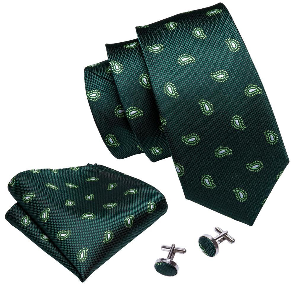 Tiny Paisley Tie, Pocket Square and Cufflinks in Forest Green - SOPHGENT