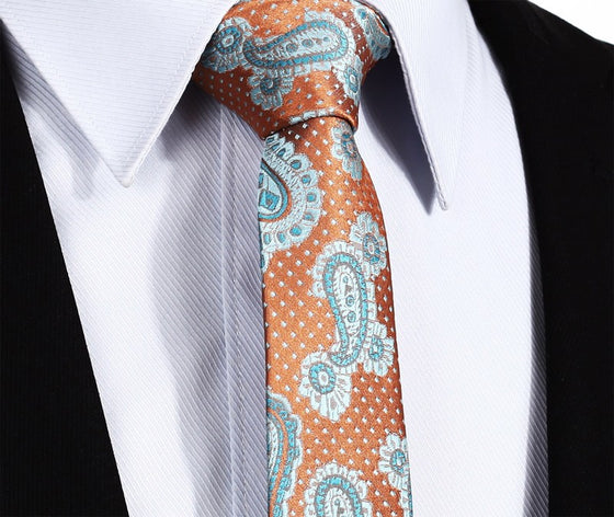 9e66263d90d53 Aqua and Orange Paisley Tie and Pocket Square - SOPHGENT ...