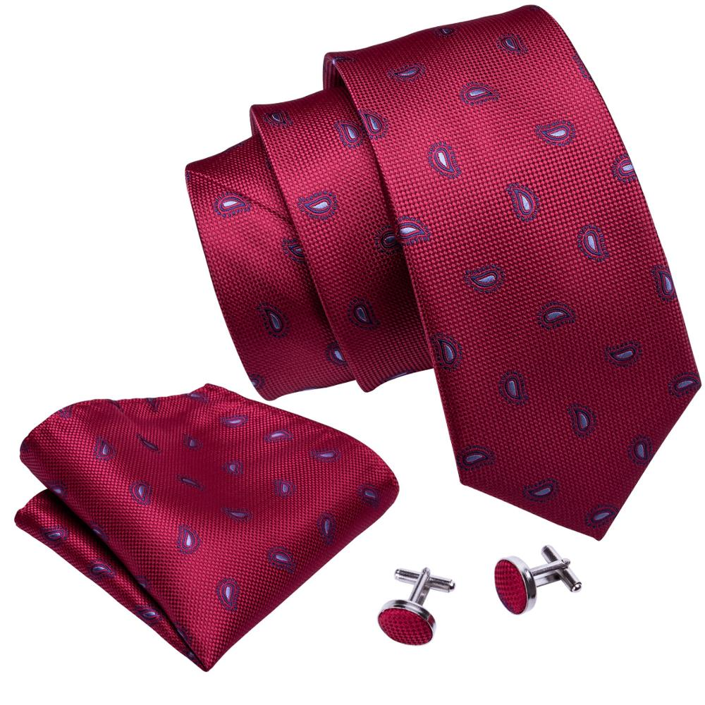 Tiny Paisley Tie, Pocket Square and Cufflinks in Red - SOPHGENT