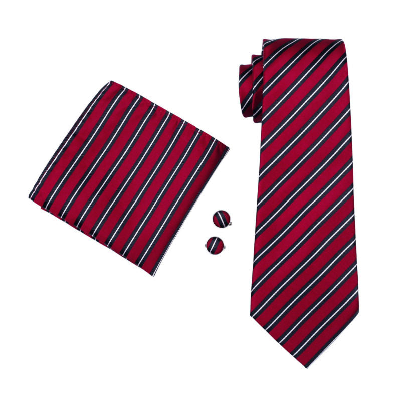 Ruby Striped Tie, Pocket Square and Cufflinks - SOPHGENT