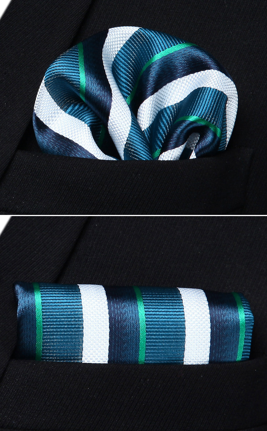 Cool Striped Bow Tie and Pocket Square - SOPHGENT