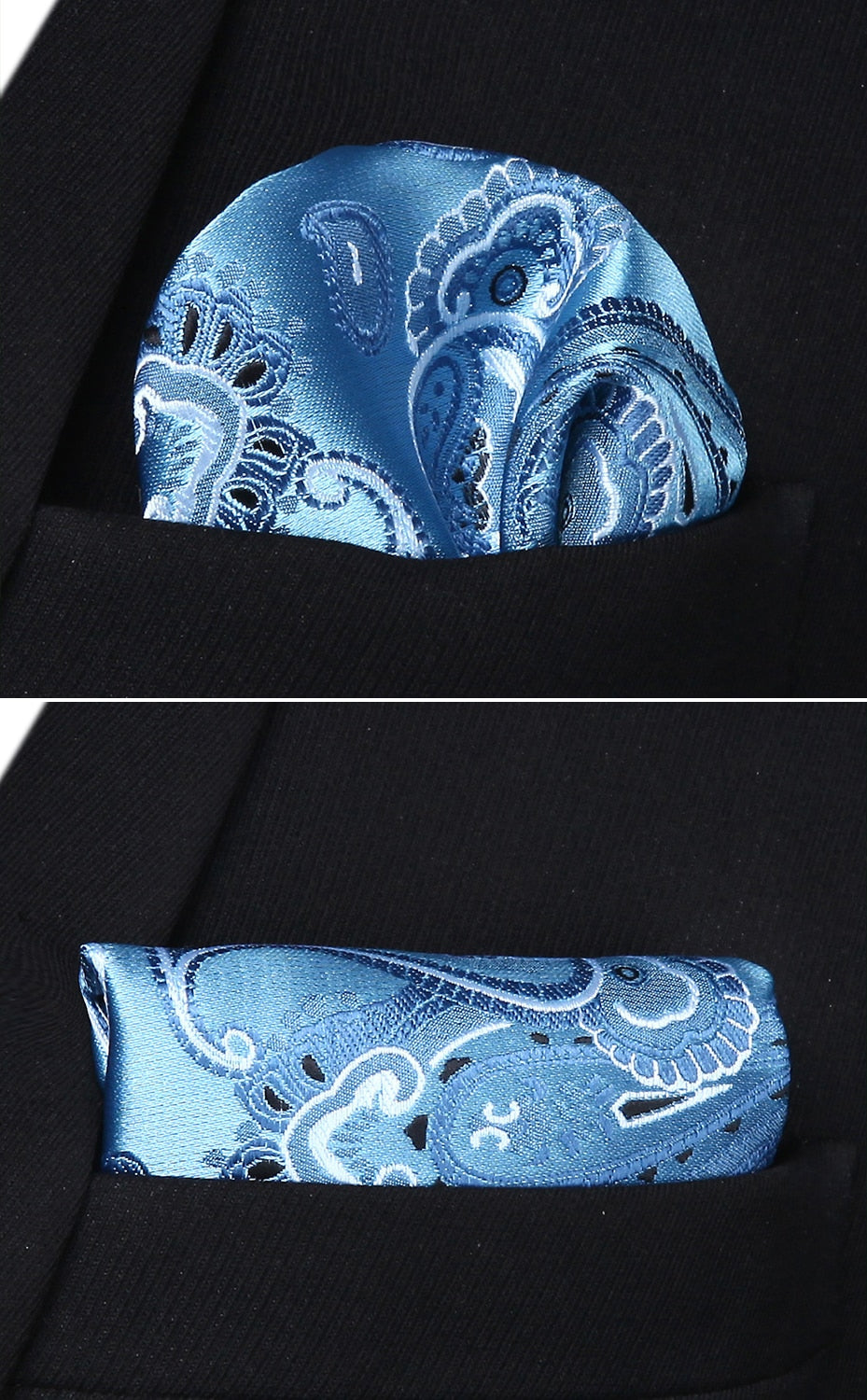 Light Blue Paisley Bow Tie and Pocket Square - SOPHGENT