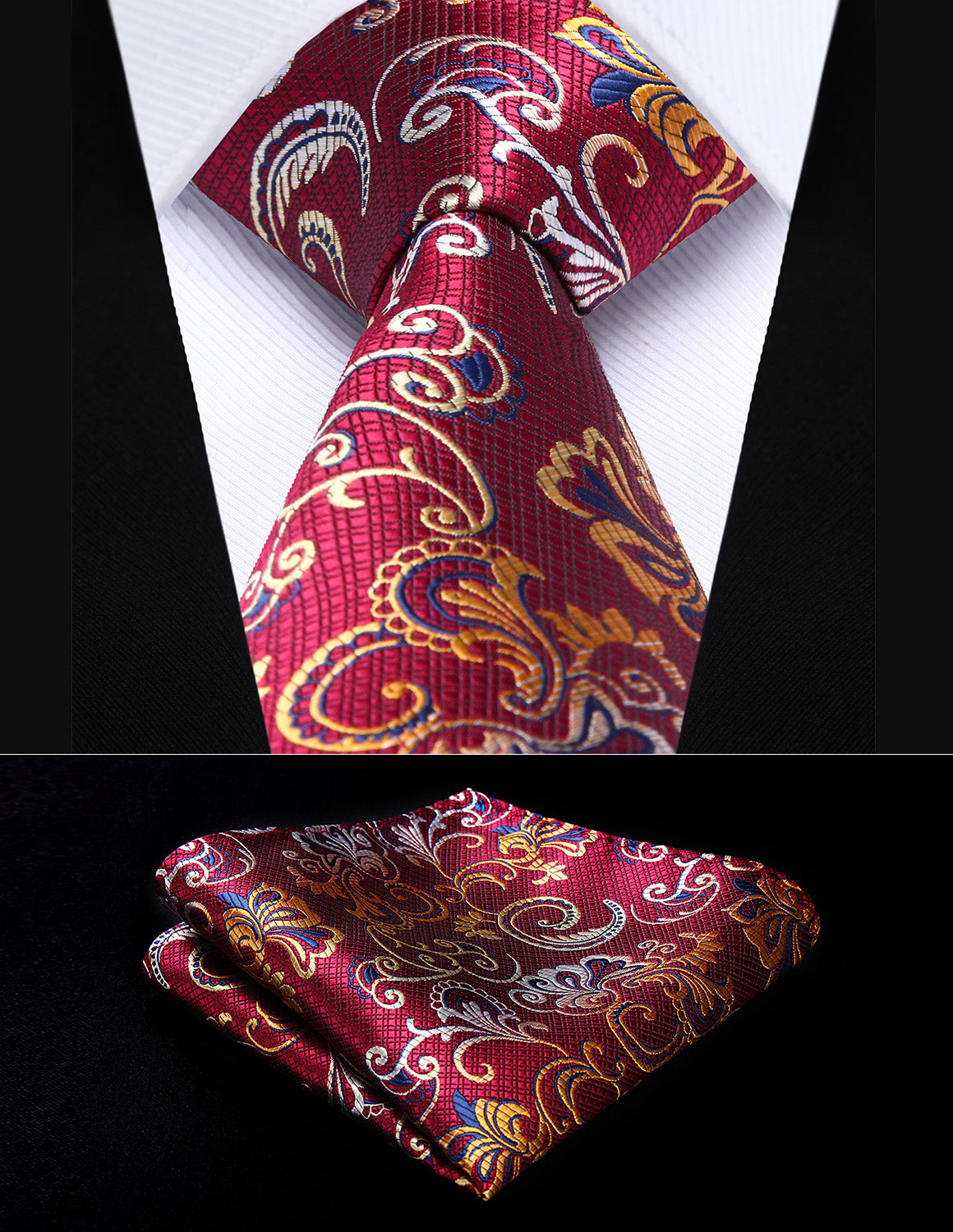 3fb535aa6879 Burgundy and Yellow Floral Silk Tie and Pocket Square | Beautiful ...