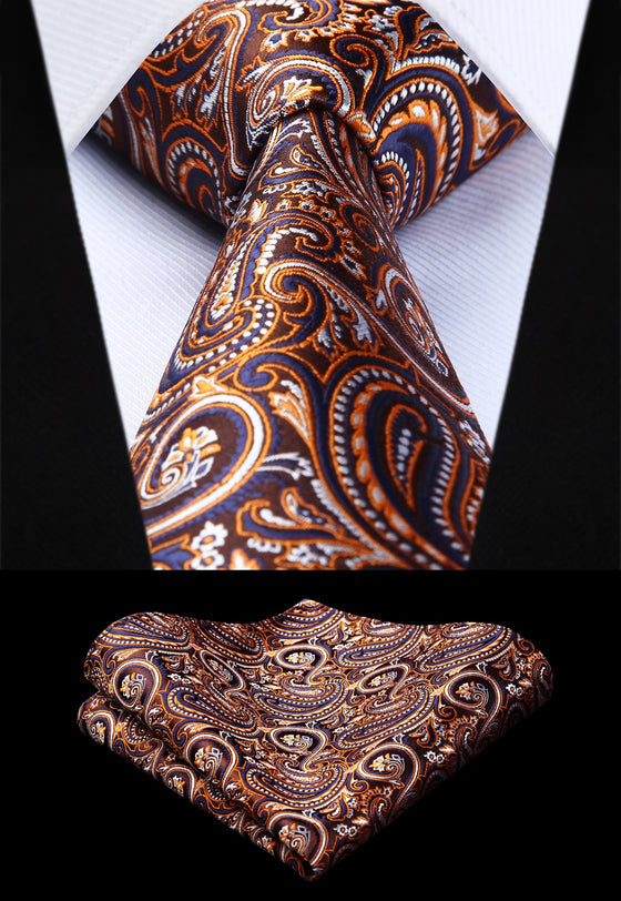 764c7046e444 Brown and Blue Paisley Tie and Pocket Square - SOPHGENT ...