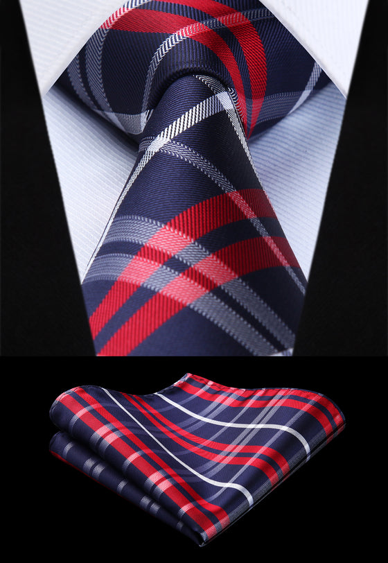 a3e877de5146 Plaid Tie in Red and Blue - SOPHGENT ...
